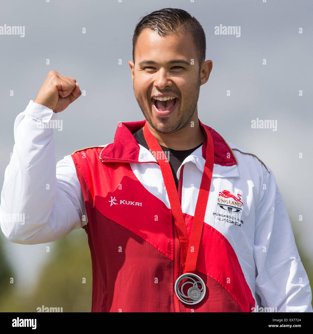 England's Aaron Heading celebrates winning silver in the men's trap at the Commonwealth Games in Glasgow - Stock Image