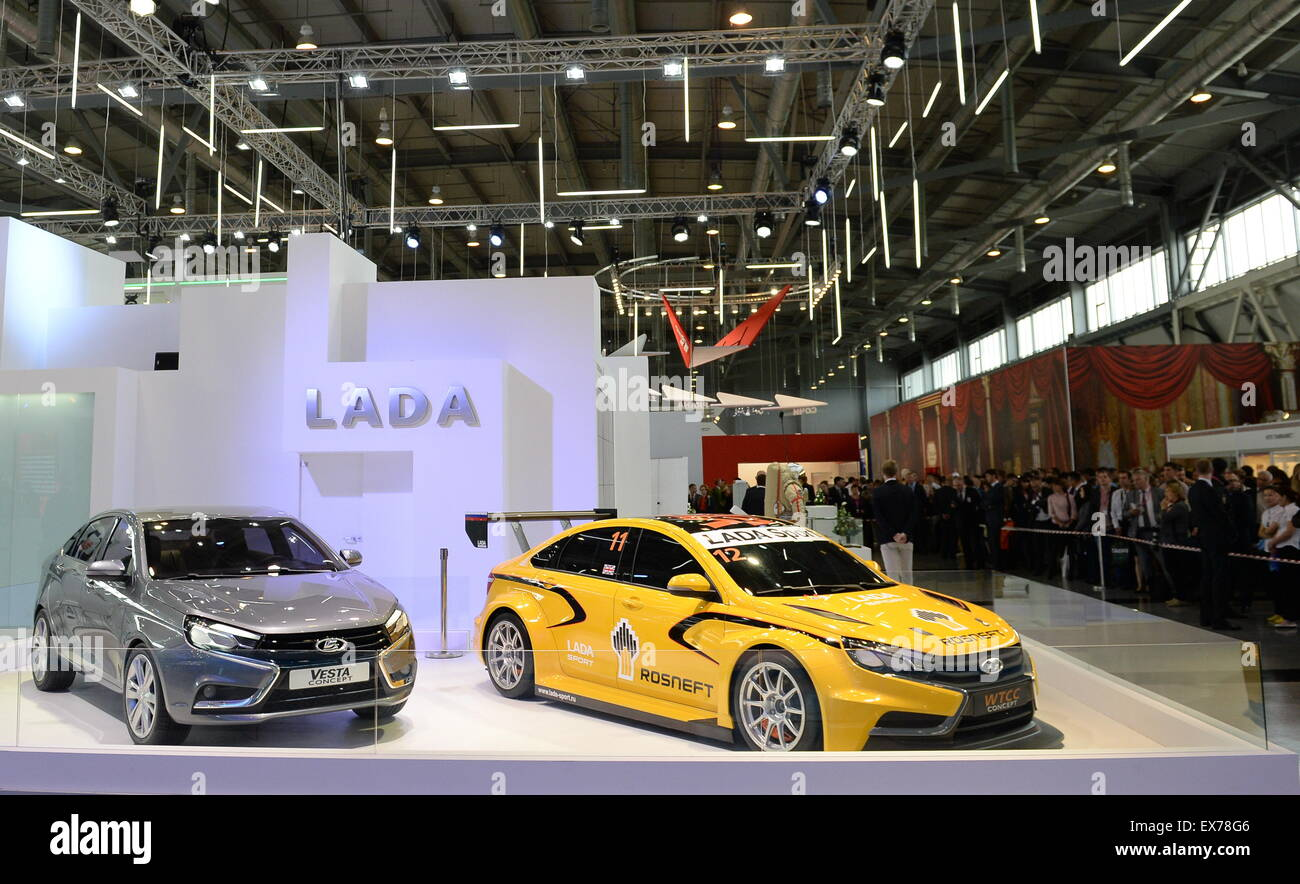 Yekaterinburg, Russia. 8th July, 2015. LADA concept cars on display at the Innoprom 2015 International Industrial - Stock Image