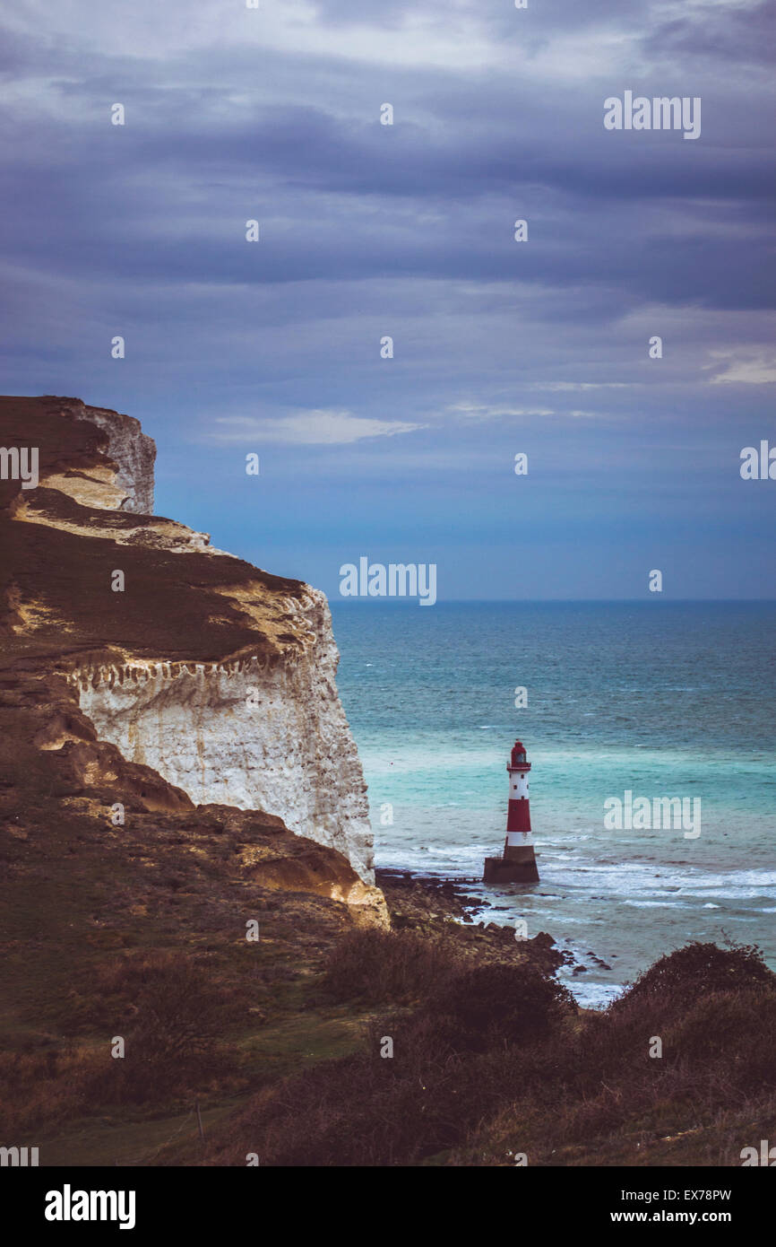 The white cliffs of Beachy Head and the lighthouse Stock Photo