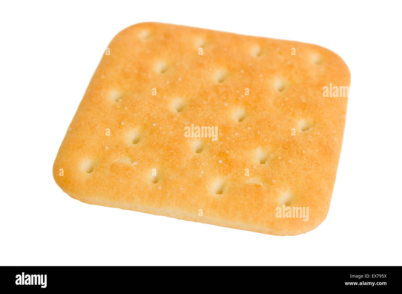 Square cracker biscuits with salt isolated on a white background. Stock Photo