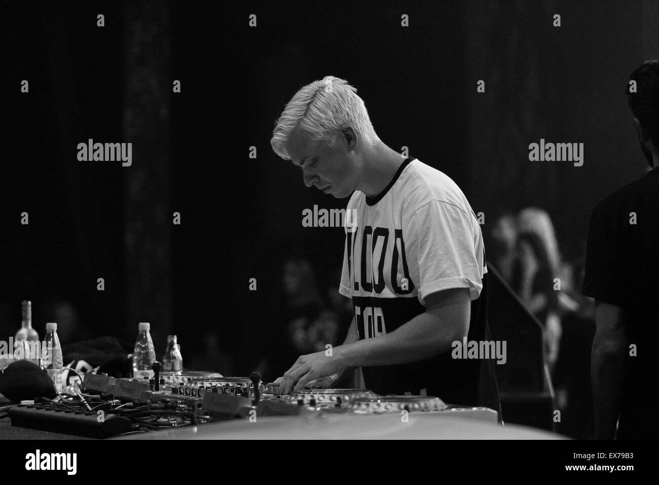 MOSCOW, RUSSIA - 8 FEBRUARY, 2015 : Concert of Yellow Claw (Leonardo 'Bizzey' Roelandschap,Jim Aasgier, - Stock Image