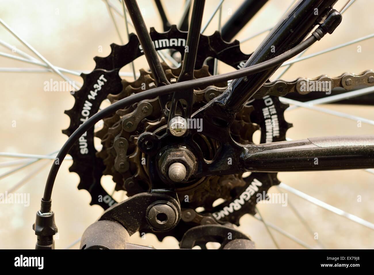Bike chainring details - Stock Image