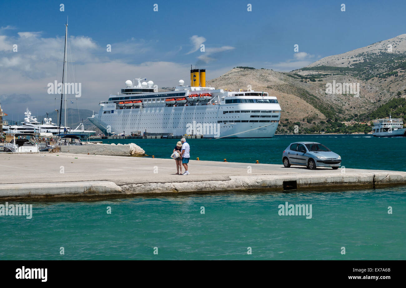 A cruise ship waiting for passengers in Argostoli Kefalonia Greece - Stock Image