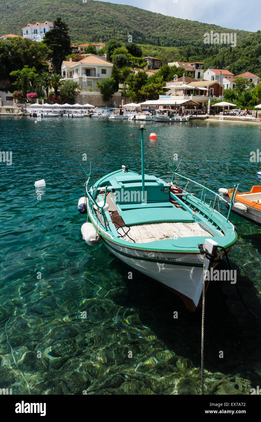 wooden boats moored up at Frikes Ithaca Greece - Stock Image