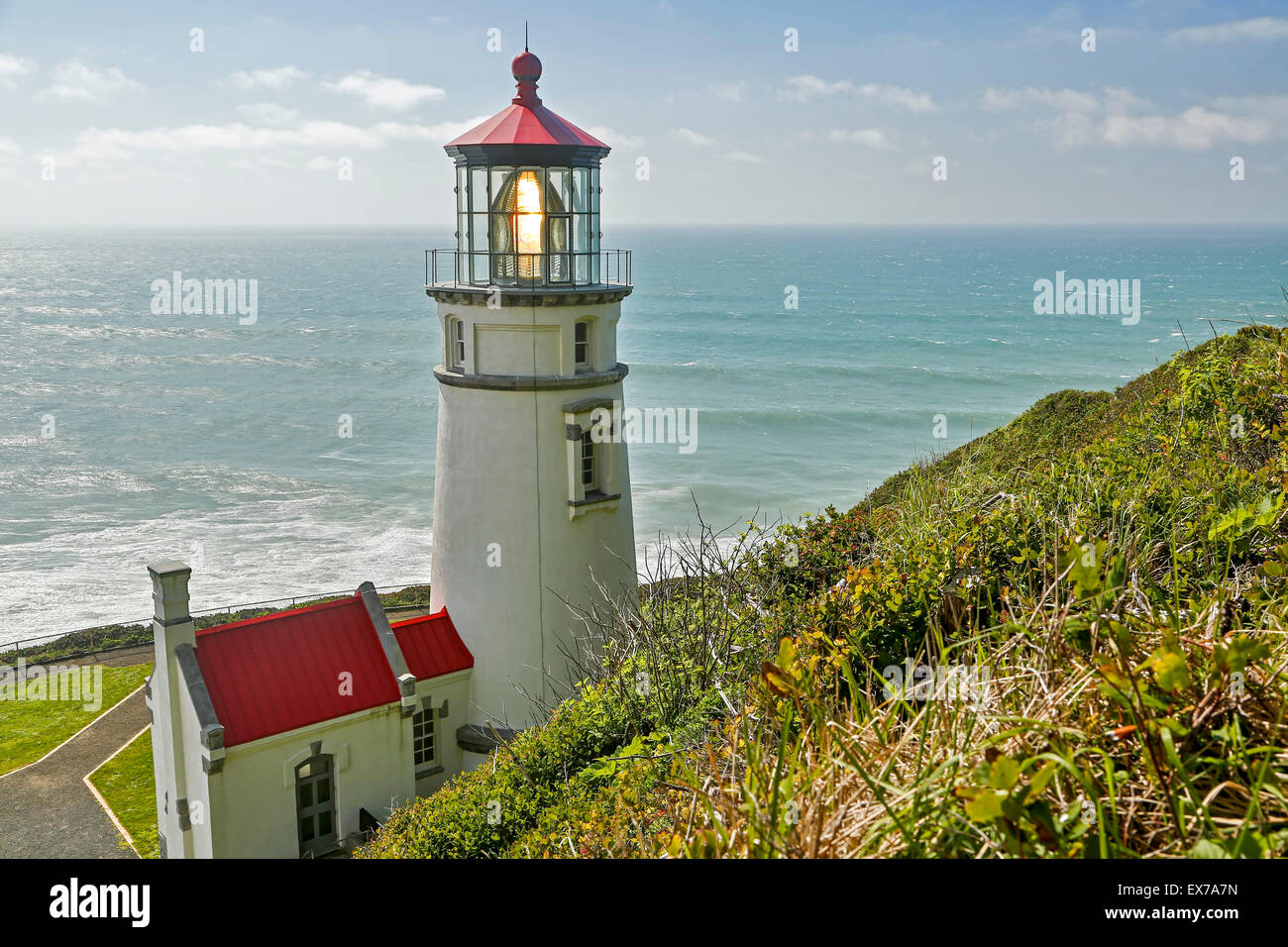 Heceta Head Lighthouse (State Park) and workroom, Oregon USA - Stock Image
