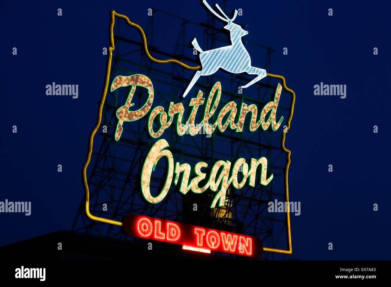 'Portland Oregon Old Town' neon sign, Portland, Oregon USA - Stock Image