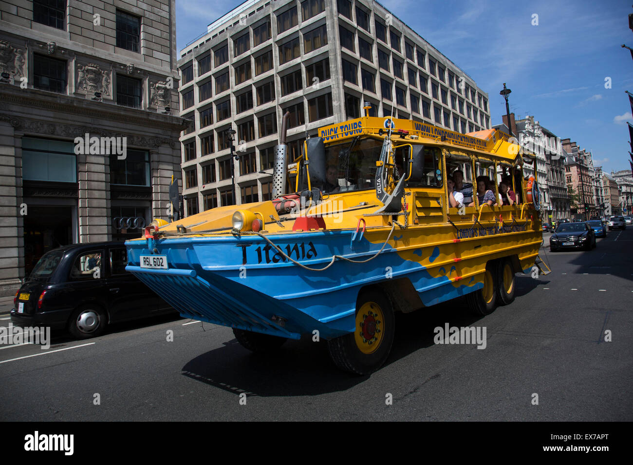 Summertime in London, England, UK. Duck Tours London amphibious vehicle passing along Piccadilly in the West End - Stock Image
