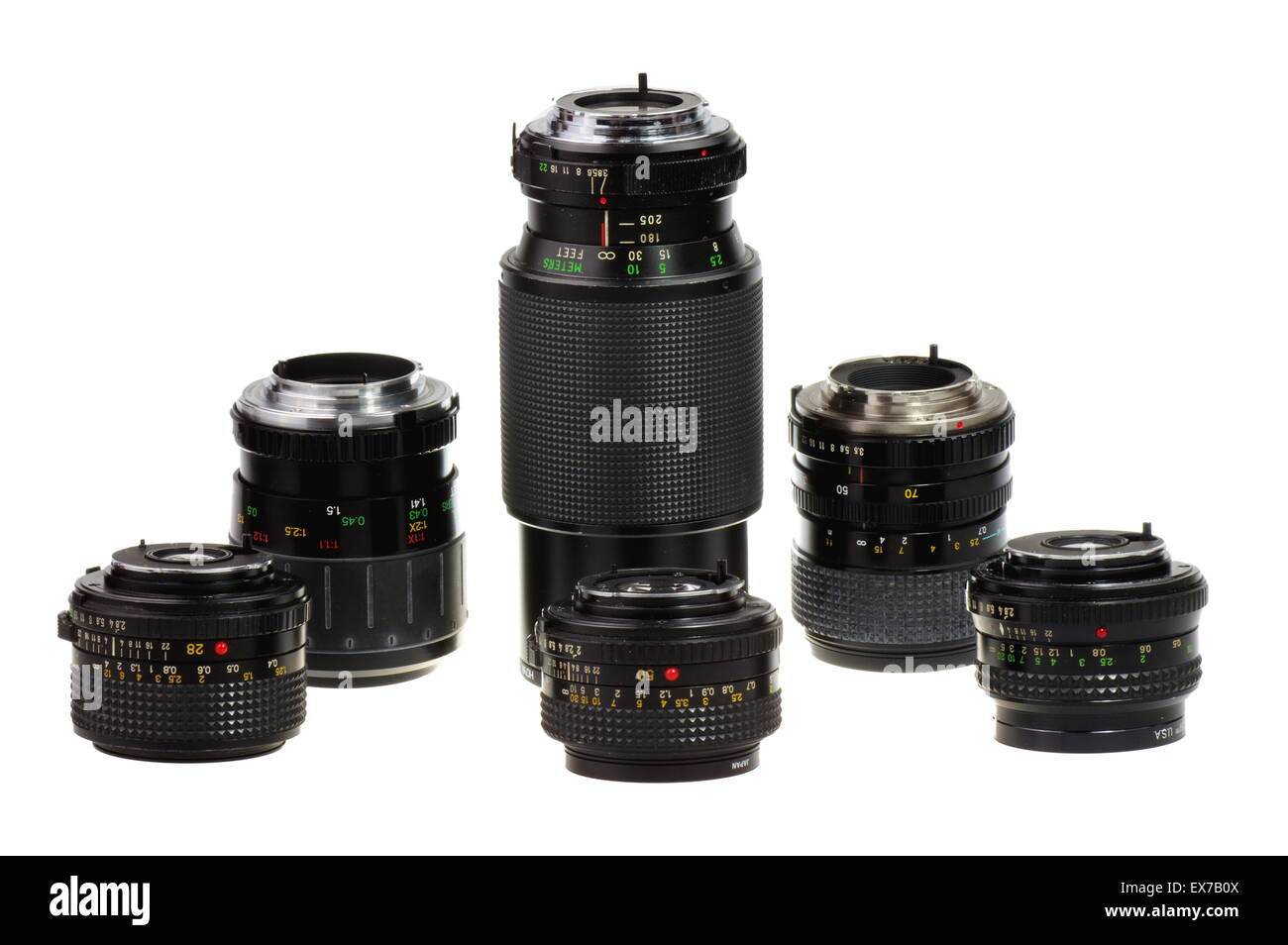 Old lens. Manual focus lenses for 135 format SLR camera a white background - isolated. - Stock Image
