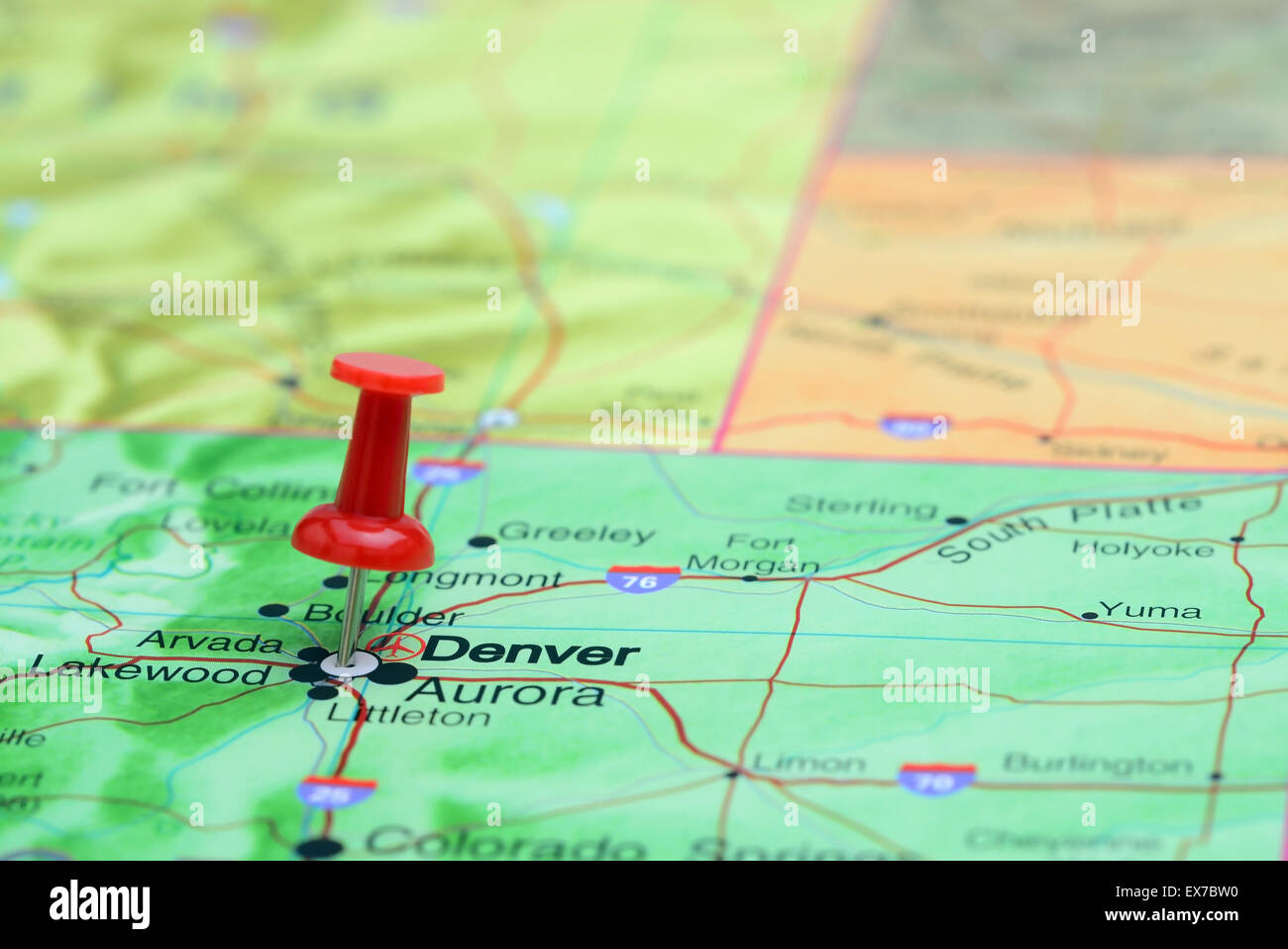 Denver Pinned On A Map Of Usa Stock Photo 84985516 Alamy
