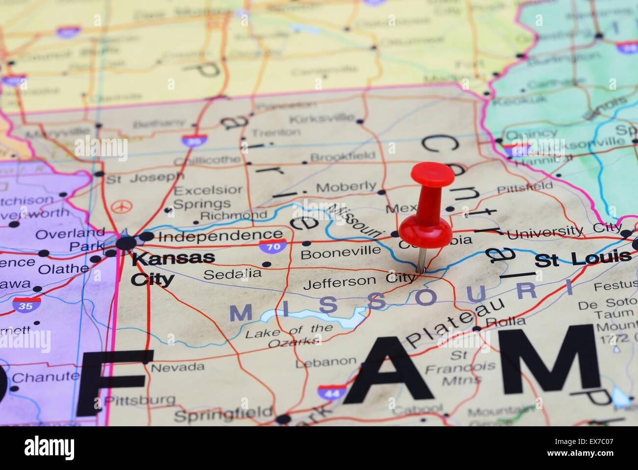 Jefferson City pinned on a map of USA Stock Photo: 84985607 - Alamy