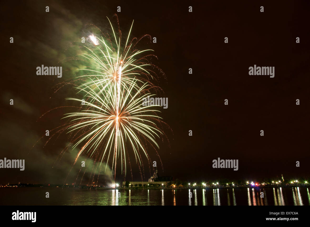 Liberty State Park Fourth of July Fireworks Stock Photo