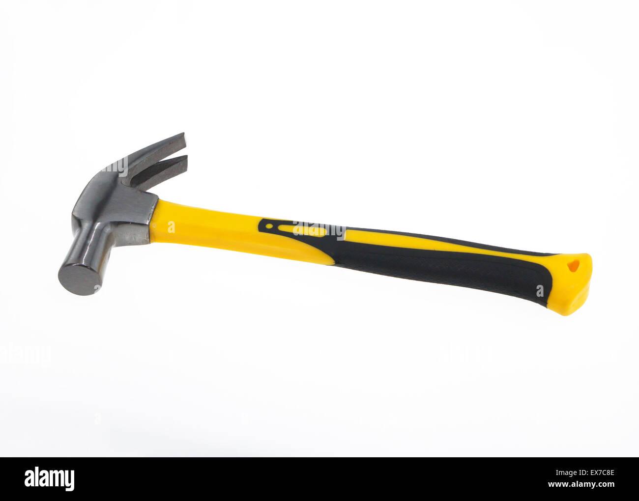 yellow-handled hammer isolated on white background. - Stock Image