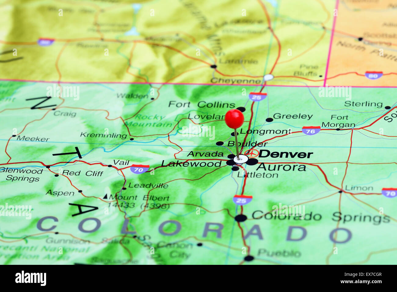 Denver pinned on a map of USA Stock Photo: 84986071 - Alamy on