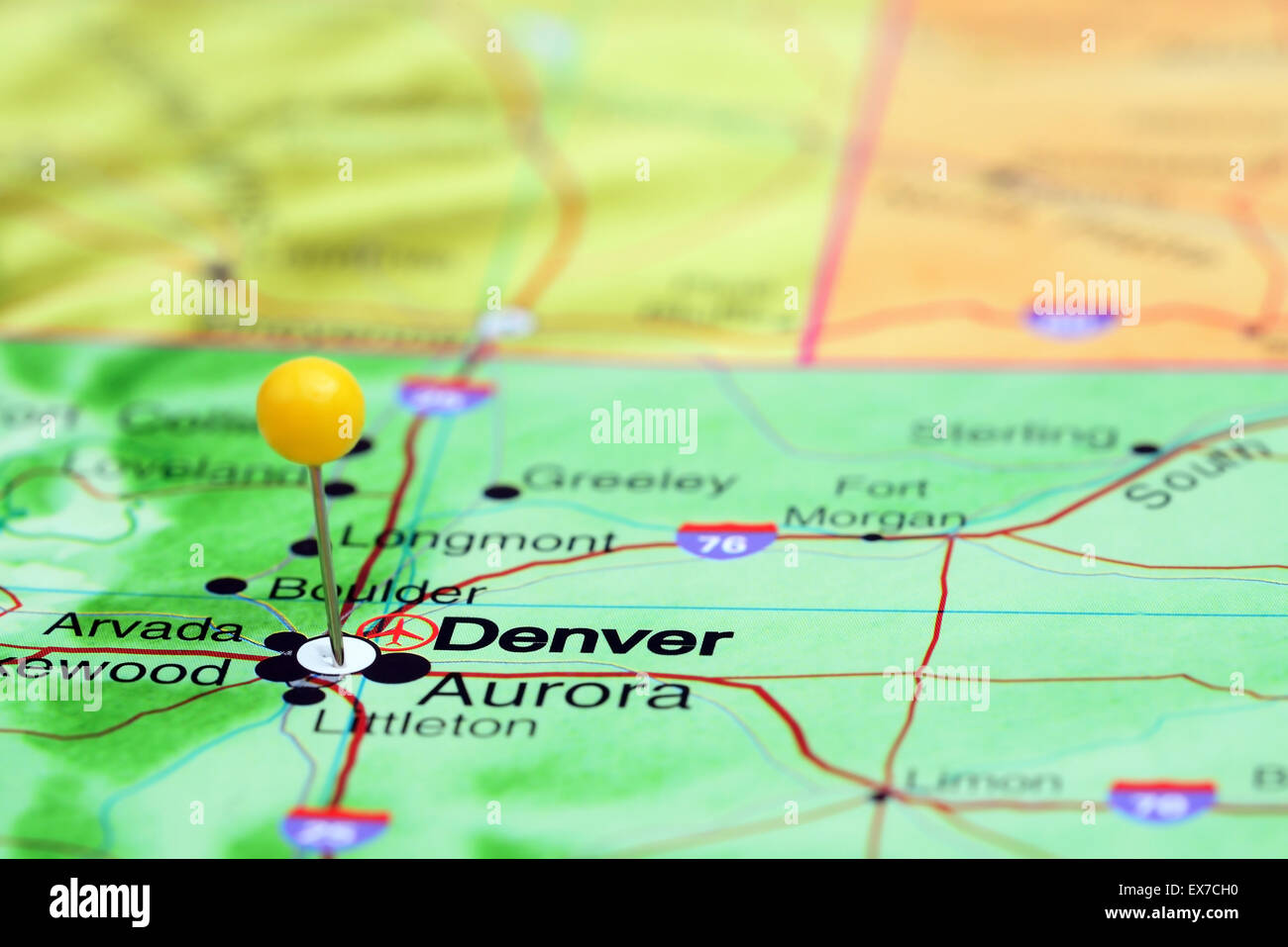 Denver pinned on a map of USA Stock Photo: 84986076 - Alamy on