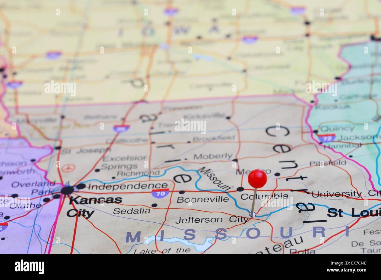 Jefferson City pinned on a map of USA Stock Photo: 84986202 - Alamy