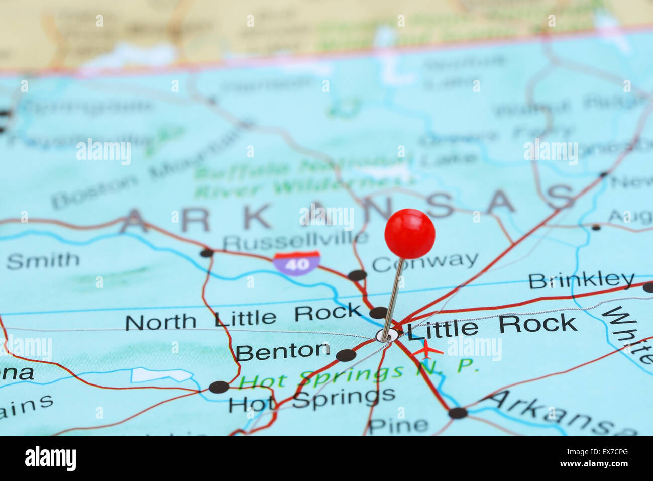 Little Rock pinned on a map of USA Stock Photo: 84986232 - Alamy