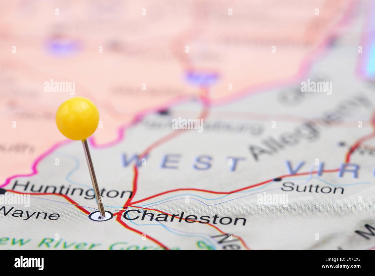 Charleston Pinned On A Map Of Usa Stock Photo 84986331 Alamy