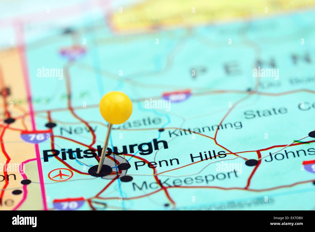 Pittsburgh On Map Of Usa.Pittsburgh Pinned On A Map Of Usa Stock Photo 84986718 Alamy