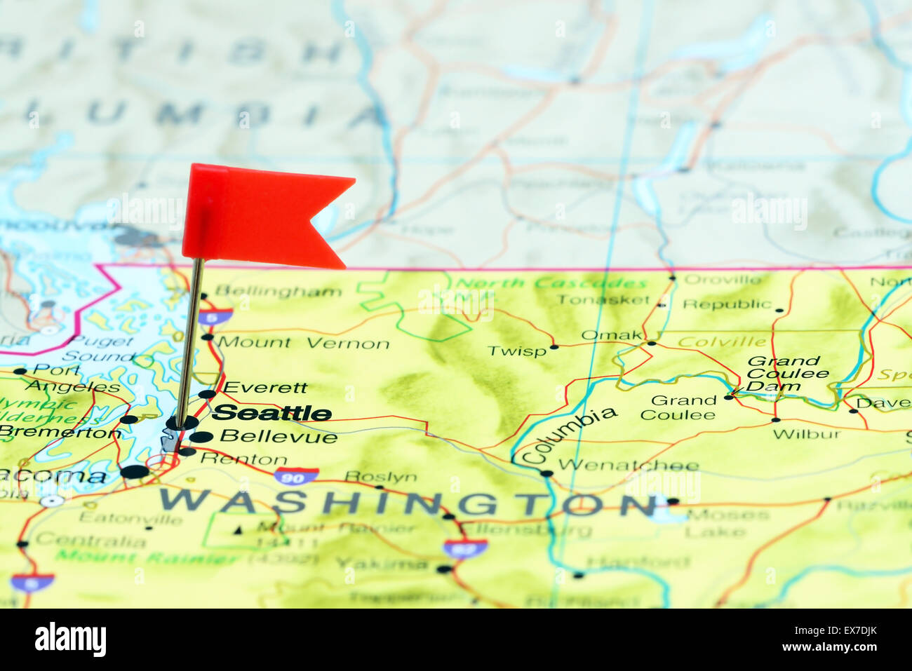 Seattle Pinned On A Map Of Usa Stock Photo 84986907 Alamy