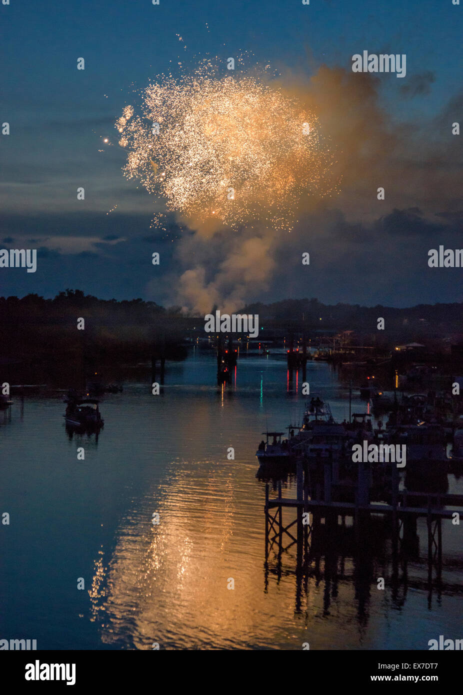 Fireworks over Steinhatchee River, Steinhatchee, Florida - Stock Image