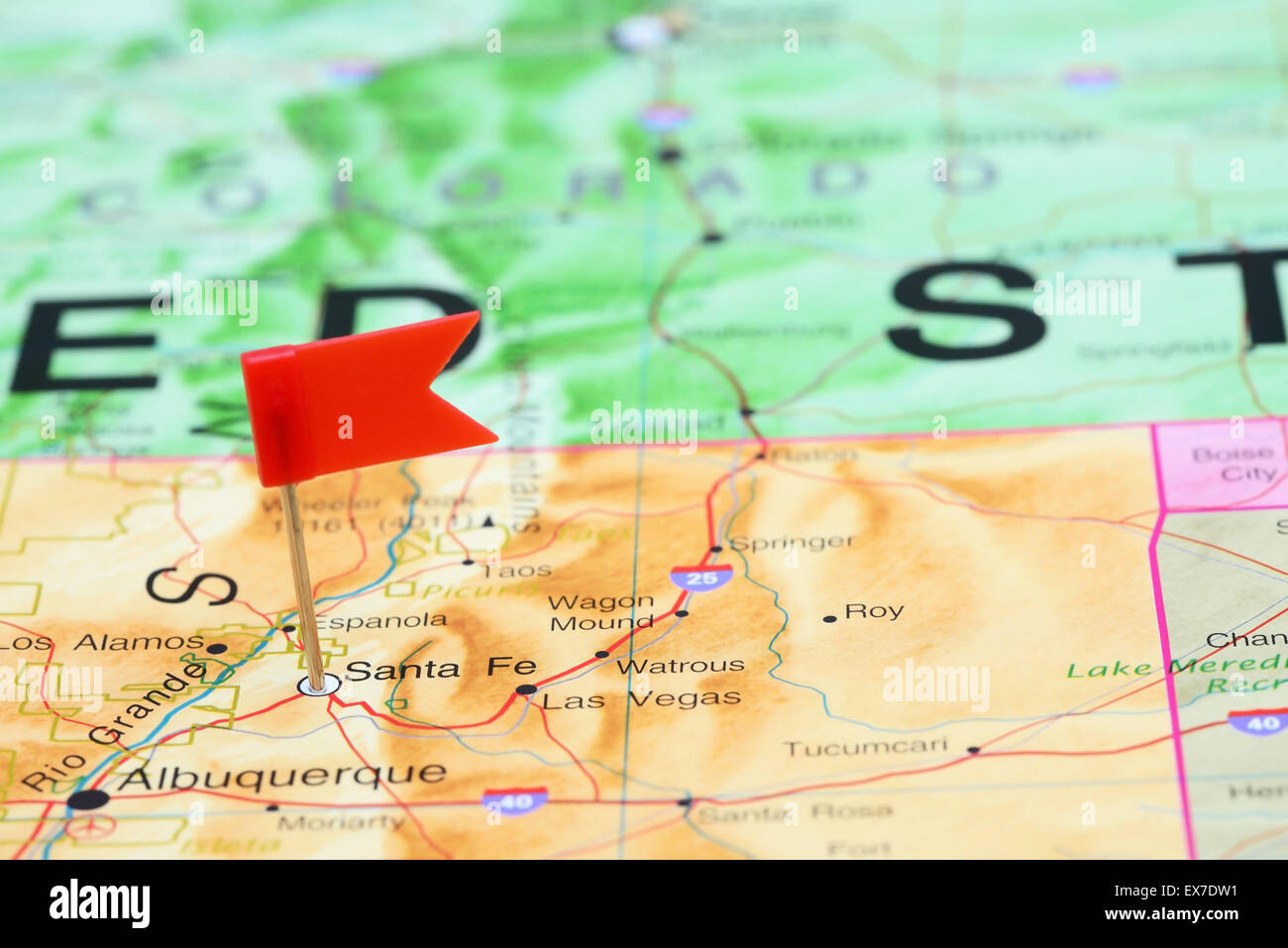 Santa Fe pinned on a map of USA Stock Photo: 84987085 - Alamy on grand canyon map in usa, seattle map in usa, hot springs map in usa, philadelphia map in usa, boston map in usa, south carolina map in usa, guam map in usa, indianapolis map in usa, montana map in usa, miami map in usa, harrisburg map in usa, iowa map in usa, nebraska map in usa, oregon map in usa, louisiana map in usa, maryland map in usa, virginia map in usa, vermont map in usa, tennessee map in usa, wisconsin map in usa,