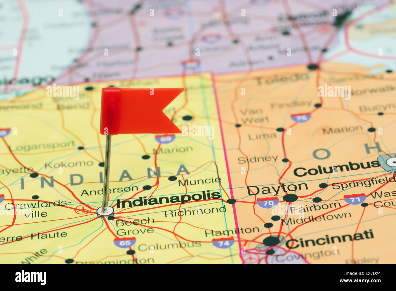 Indianapolis pinned on a map of USA Stock Photo: 84987116 ...