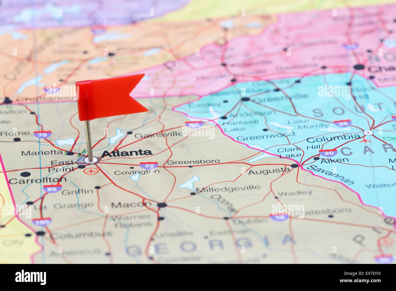 Atlanta On Map Of Usa.Atlanta Pinned On Map Usa Stock Photos Atlanta Pinned On Map Usa