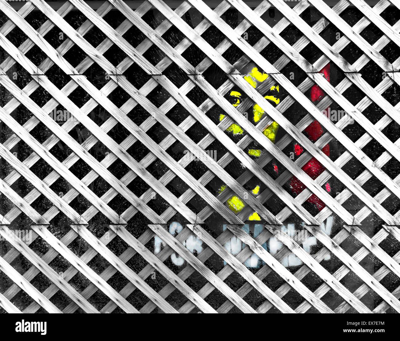Bob Marley Stencil behind faded fence lattice Stock Photo: 84987384 ...