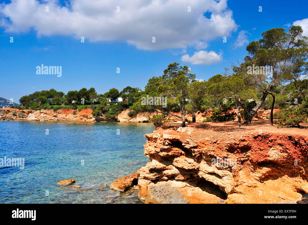 a view of the Mediterranean Sea and a calm scene in the northeastern coast of Ibiza Island, in the Balearic Islands, - Stock Image