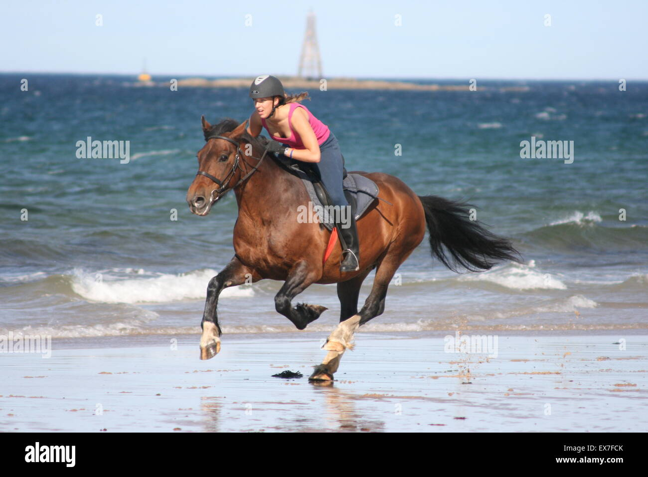 A girl riding a horse down the beach at Lossiemouth in Scotland - Stock Image