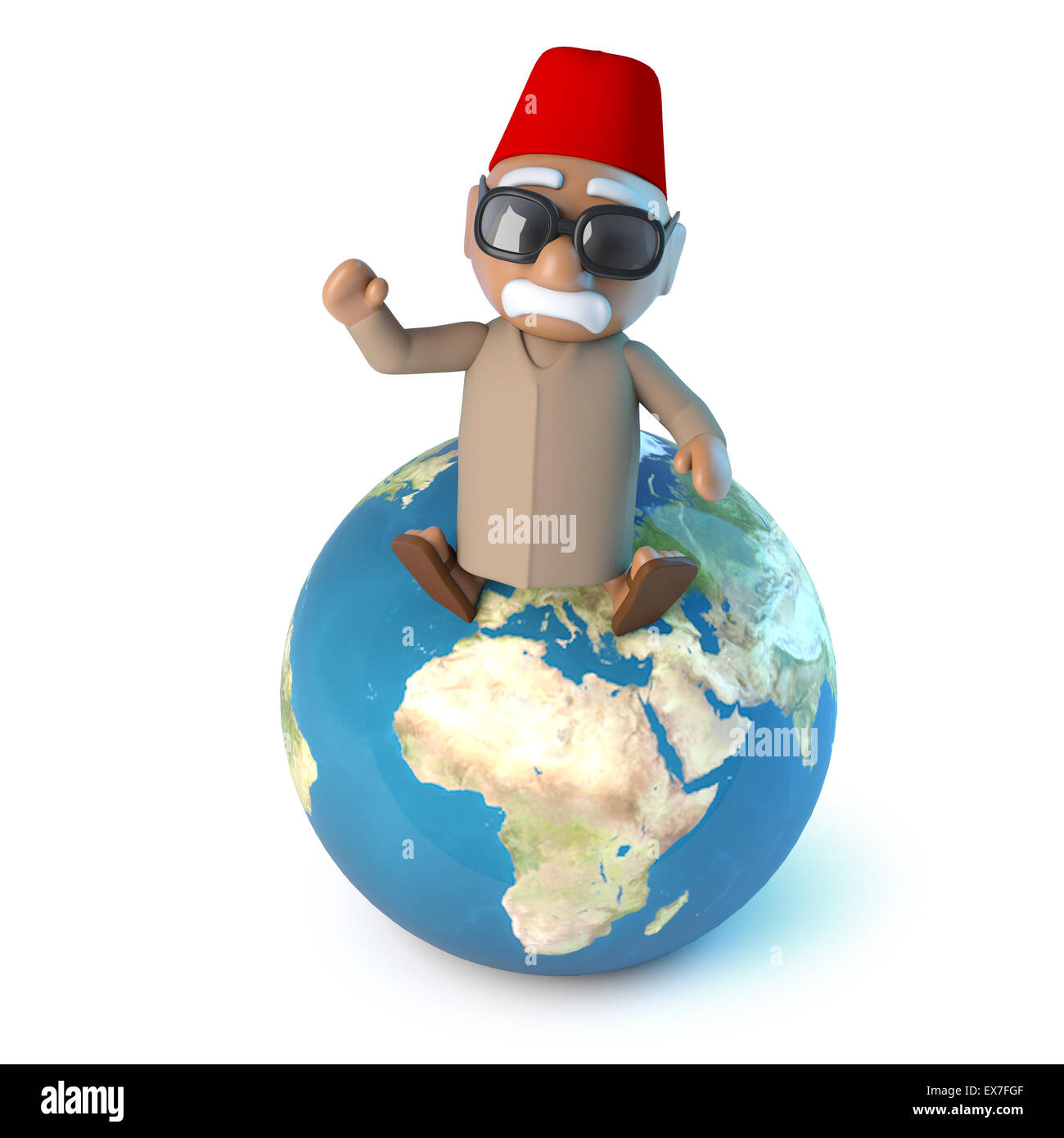 3d render of a Moroccan sitting on a globe of the Earth. - Stock Image