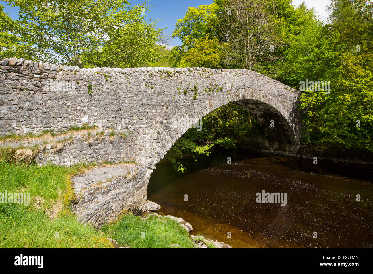 An old packhorse bridge crossing the River Ribble at Stainforth above Settle in the Yorkshire Dales, UK. - Stock Image
