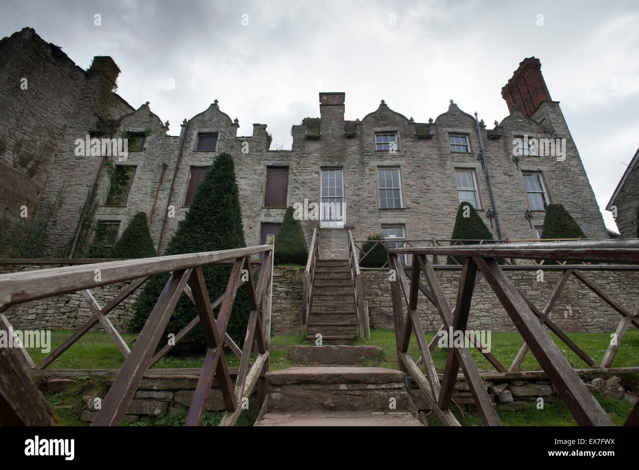 Hay Castle in Hay-on-Wye, mid Wales. - Stock Image