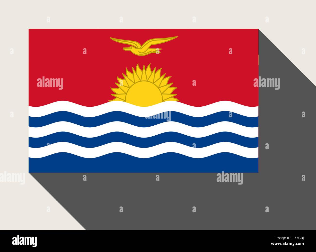 Kiribati flag in flat web design style. Stock Photo