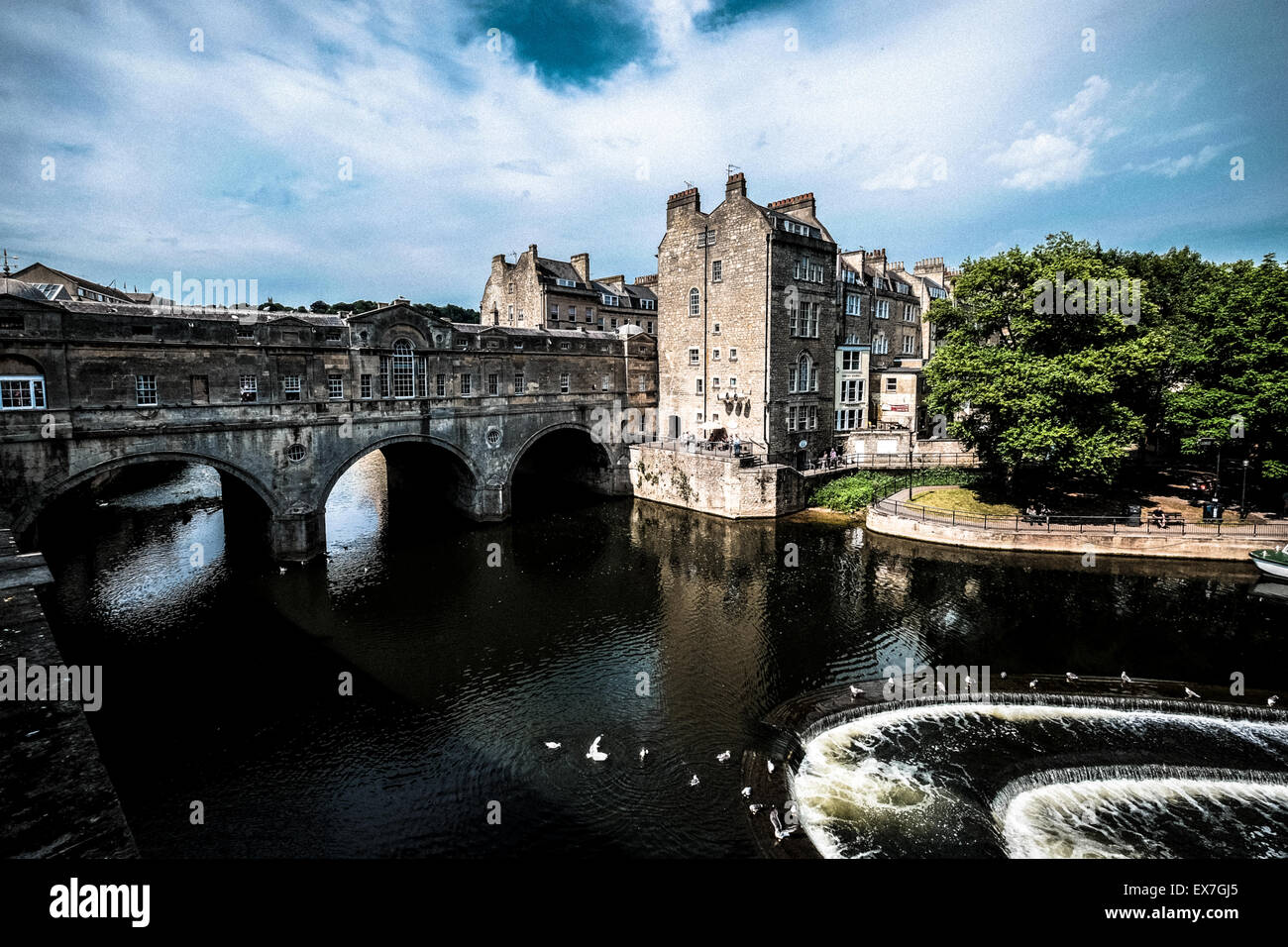 Pulteney Bridge Bath Somerset England UK. River Avon - Stock Image