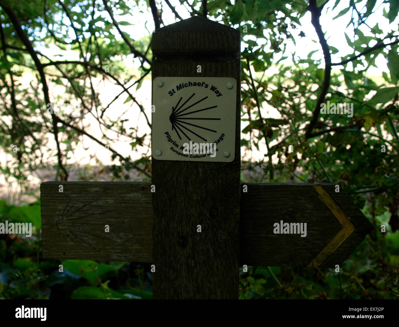 Footpath sign for St Michael's Way, Pilgrim Route to Santiago at Gulval, Long Rock, Cornwall, UK - Stock Image