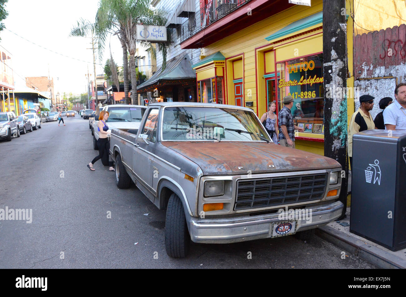 rusty ford new orleans frenchman street - Stock Image