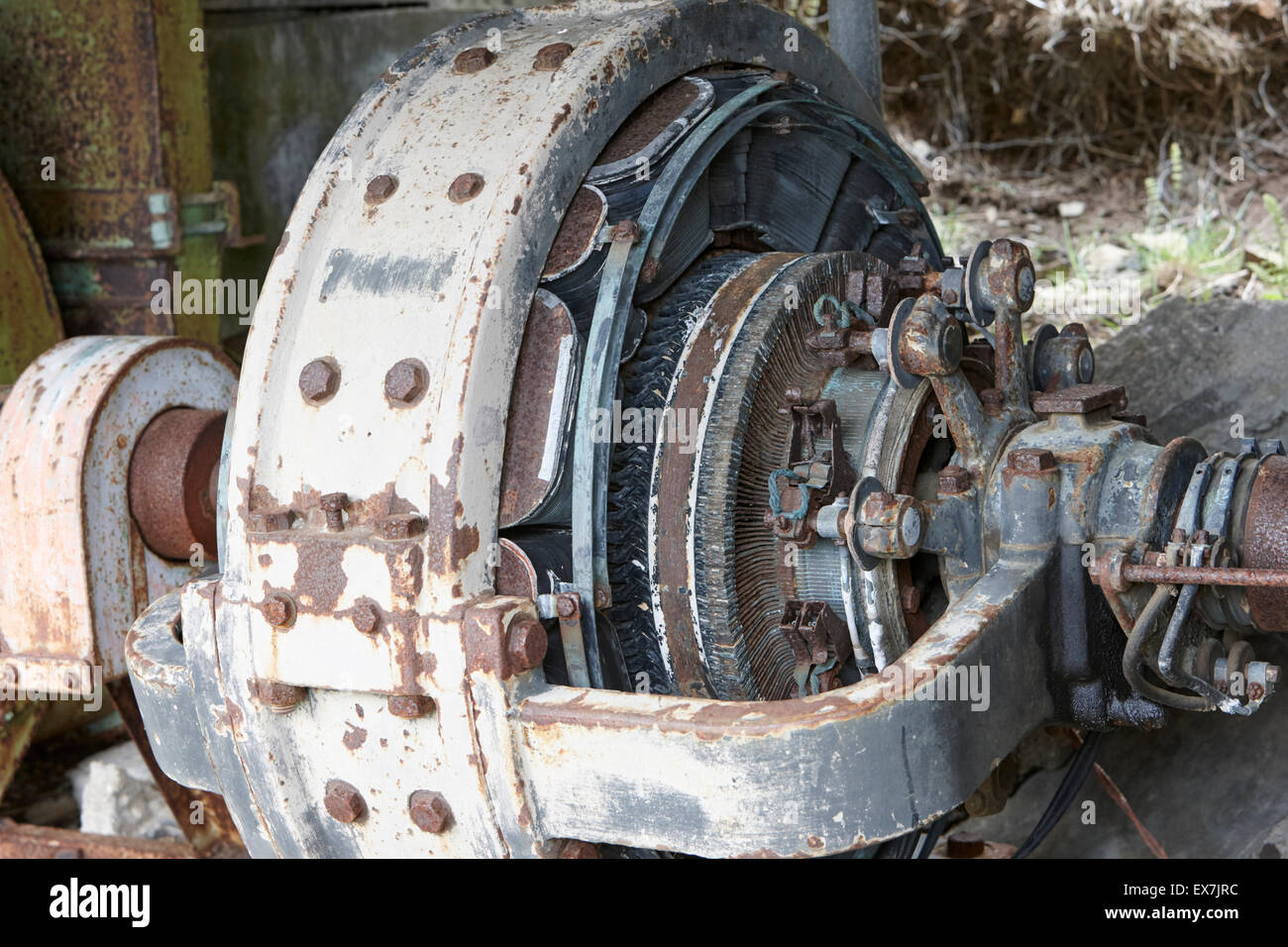 electricity generation equipment in former small hydro electric station in Hlidarendi Hvolsvollur Iceland - Stock Image