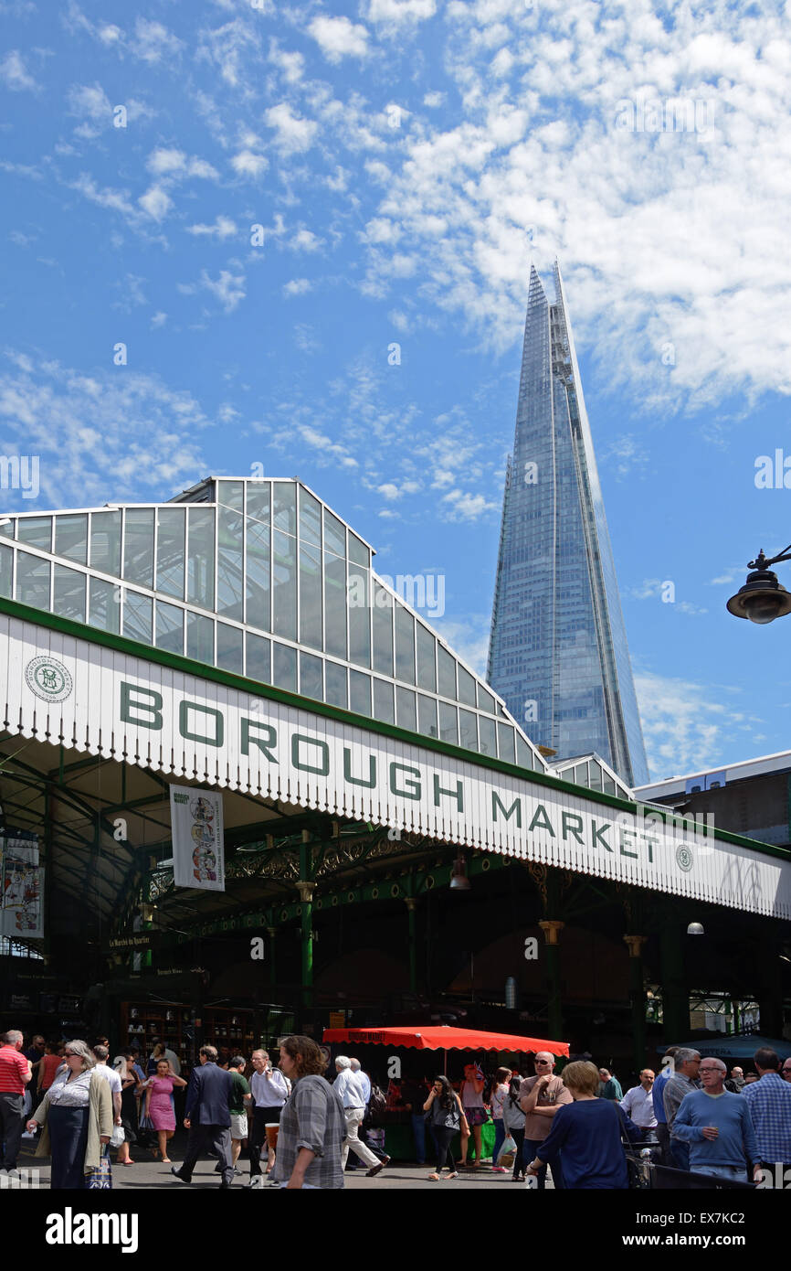 The Shard seen from Borough Market, London, England. - Stock Image