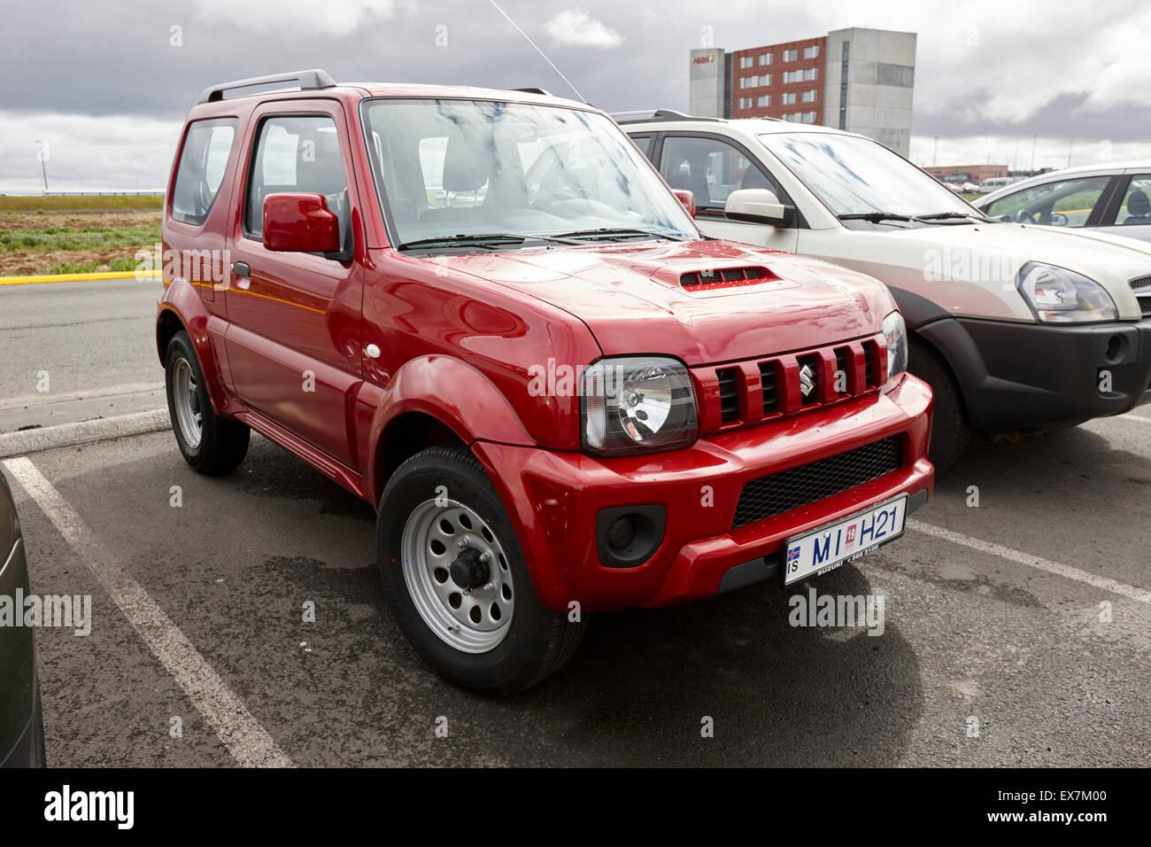 red suzuki jimny jeep hire car at keflavik airport iceland. Black Bedroom Furniture Sets. Home Design Ideas