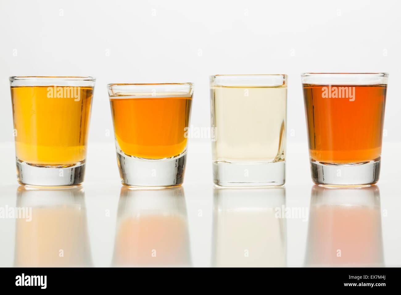 Row of whiskey shots - Stock Image