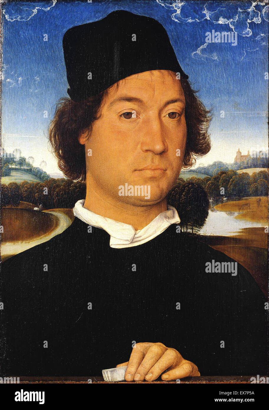 Hans Memling, Portrait of an Unknown Man with a Letter 1485-1489 Oil on panel. Uffizi Gallery, Florence, Italy. Stock Photo