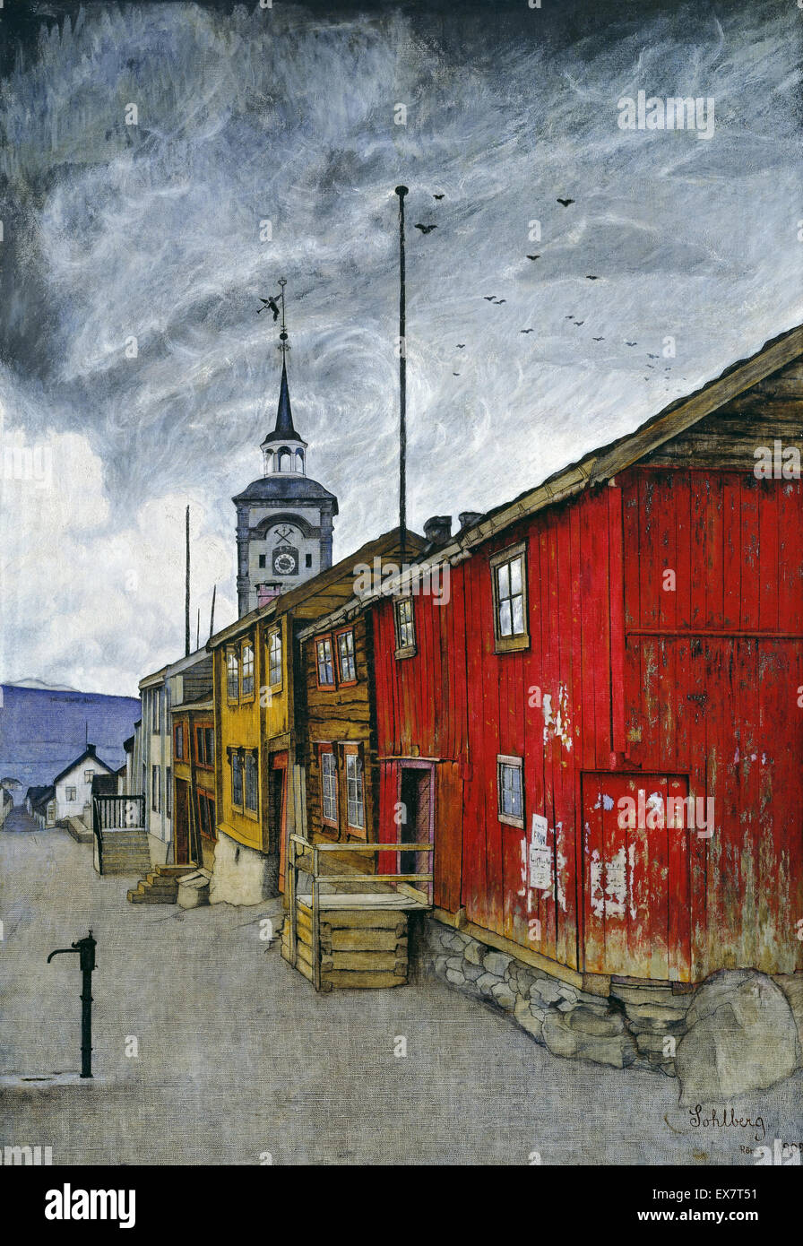Harald Sohlberg, Street in Roros 1902 Oil on canvas. National Museum of Art, Architecture and Design, Oslo, Norway. - Stock Image