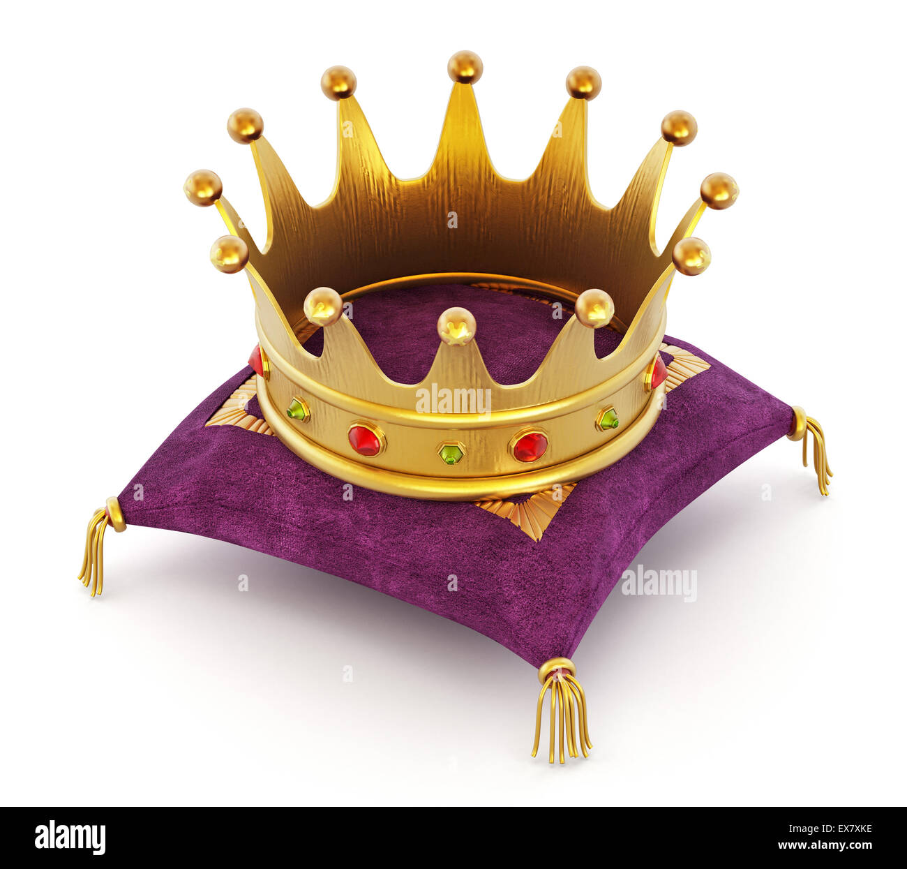 Gold Crown On The Purple Pillow Isolated White Background