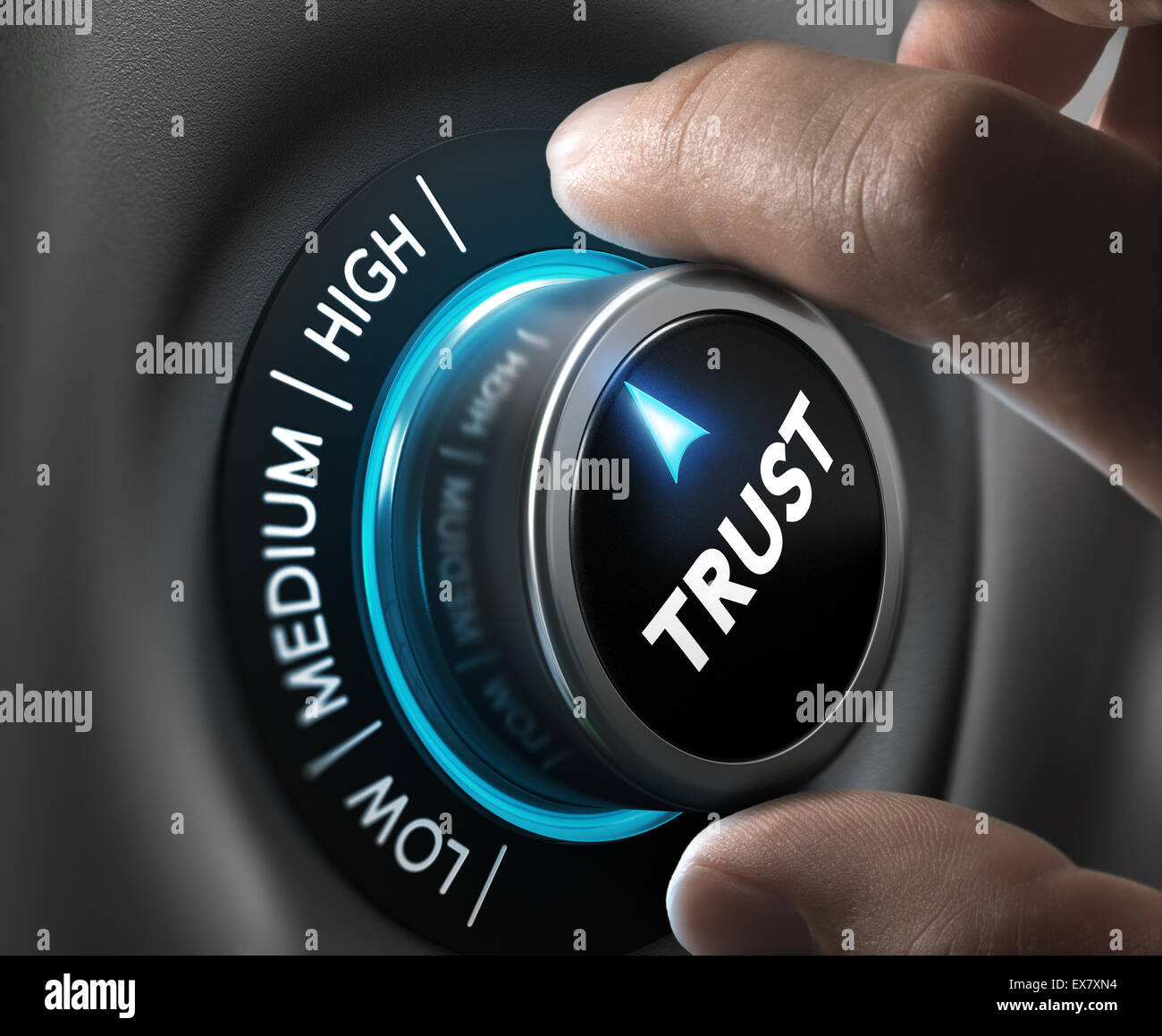 Man fingers setting trust button on highest position. Concept image for illustration of high confidence level. - Stock Image