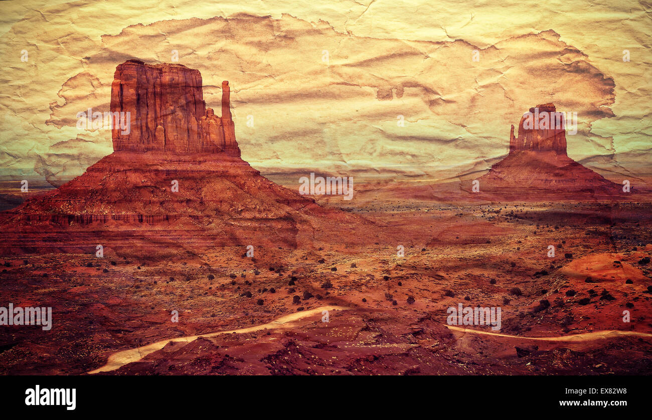 Monument Valley postcard, retro old paper effect. - Stock Image