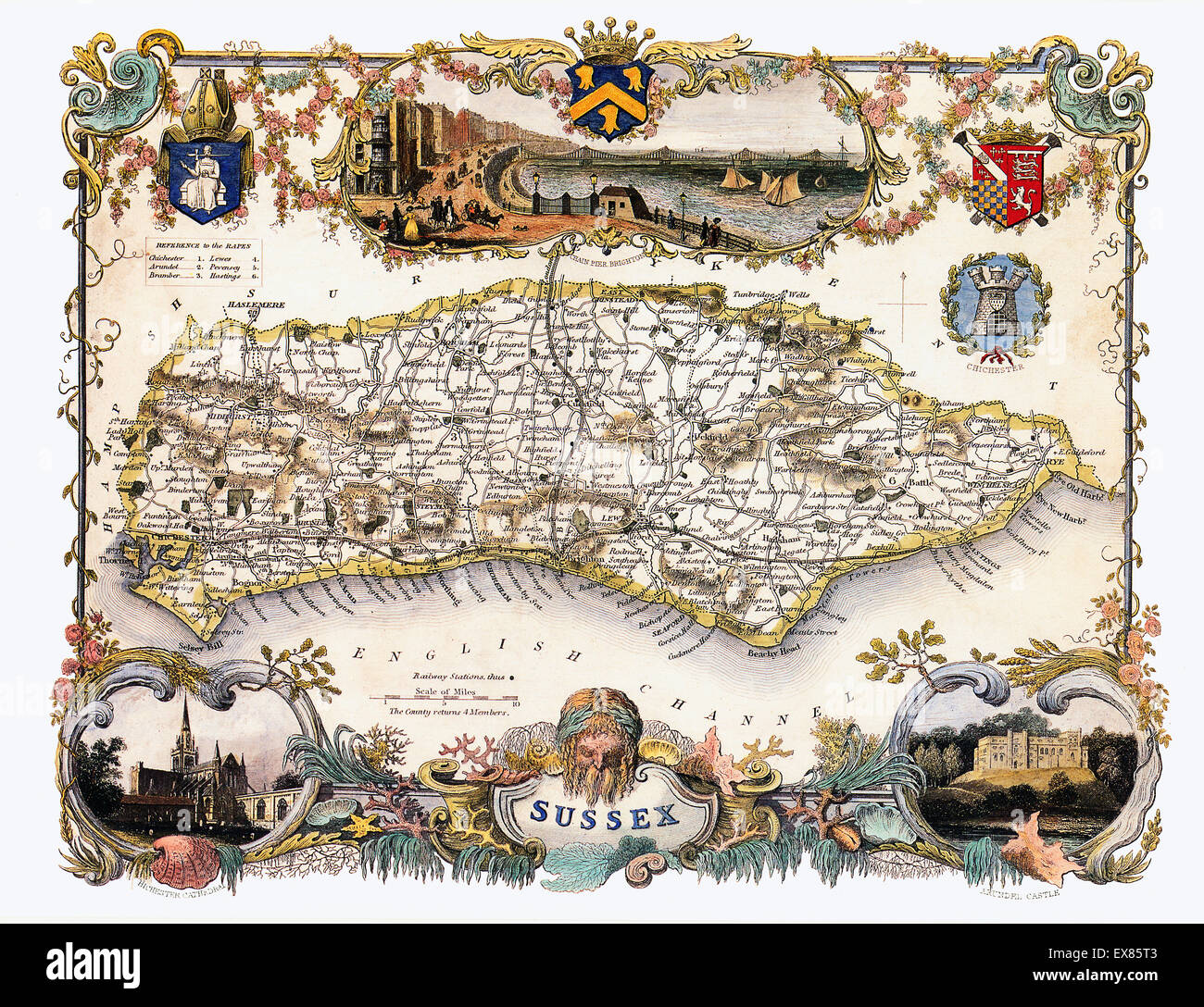 Sussex Map, 1850 by Thomas Moule of the English county, with illustrations of Brighton Pier, Chichester Cathedral - Stock Image