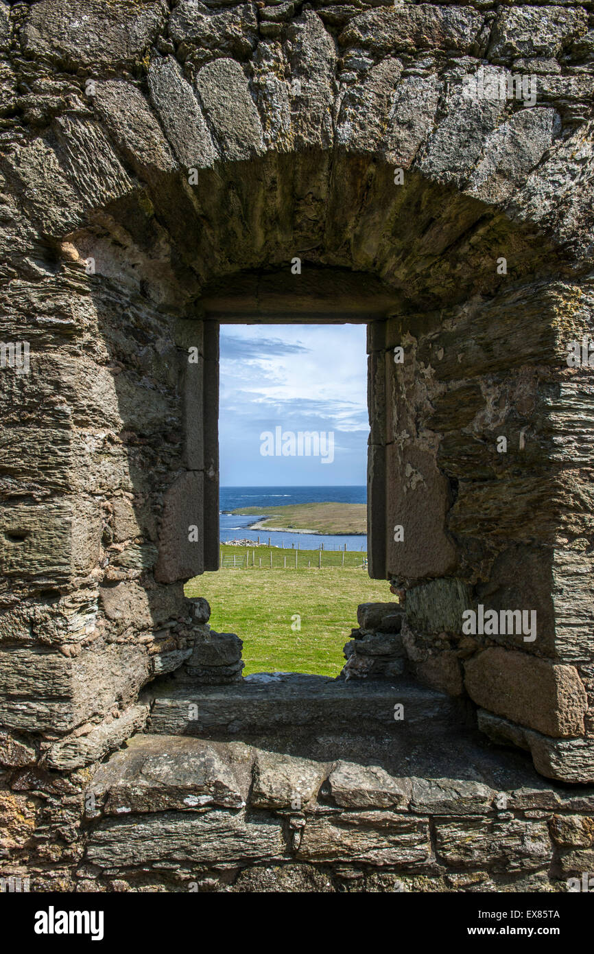 Muness Castle ruins, view from a window, Muness, Unst, Shetland, Scotland, United Kingdom Stock Photo