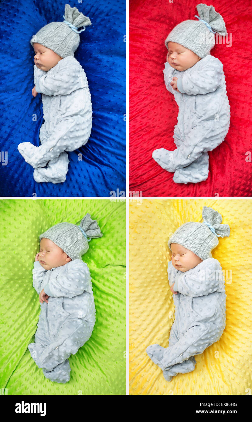 Multiple picture of a sleeping newborn child - Stock Image
