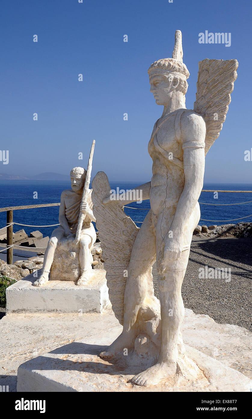 Statues of Icarus and Daedalus, Agia Galini, Crete, Greece - Stock Image